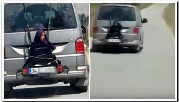В Турции «заботливый папа» привязал дочь машине, чтобы прокатнуть ее с ветерком