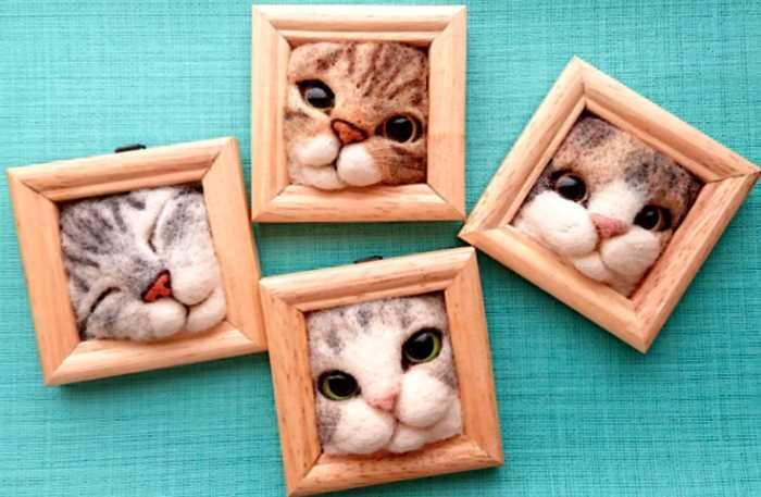 Японский художник из войлока создает портреты кошачьих мордашек, и мы уже хотим себе такую же, нет, две!