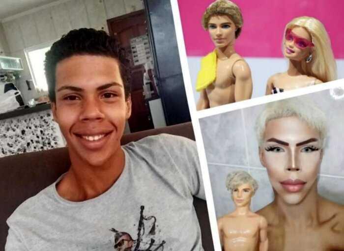 17-летний парень из Бразилии всего за пару лет превратился в живую куклу, и хирурги тут не причем