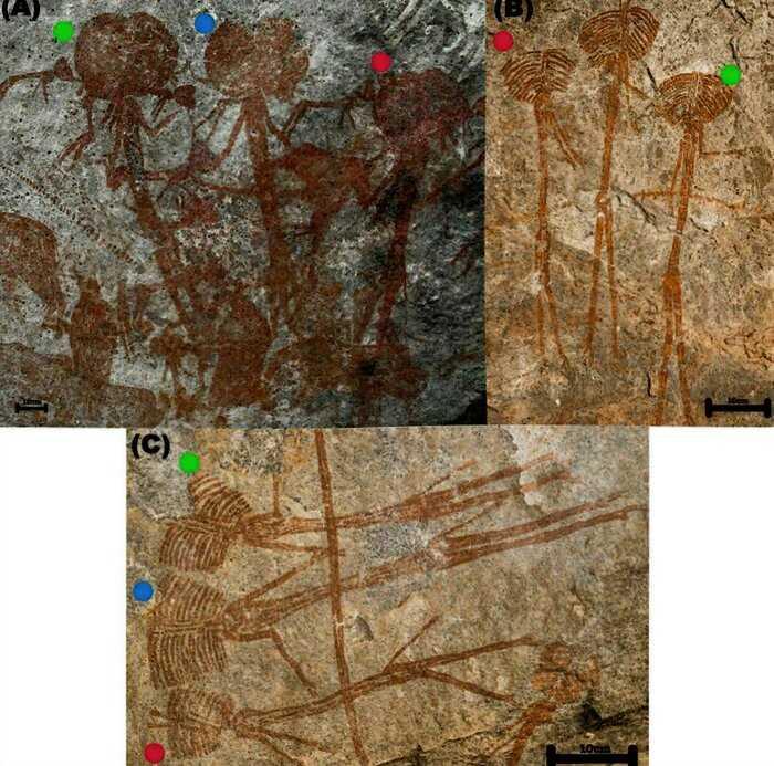В пещере нашли древние рисунки, на которых изображены существа с огромным головами
