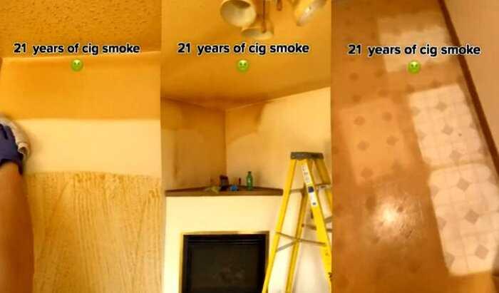 Художница в ужасе обнаружила, какого цвета стали стены в квартире курильщика, который жил там 21 год